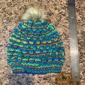 Blue, Green, and Brown Bubble Knit Beanie